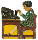 LADY TYPIST LITHO TIN FIGURAL CLICKER.