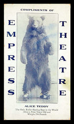 """ALICE TEDDY"" ROLLER SKATING BEAR PROMOTIONAL CARD."
