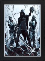 """THE WALKING DEAD"" POSTER ORIGINAL ART FEATURING MICHONNE & HER PET ZOMBIES BY JOHN WATKISS."