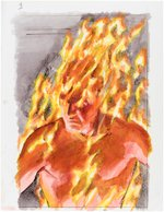 ALEX ROSS MARVELS #1 PRELIMINARY COVER ORIGINAL ART FEATURING THE HUMAN TORCH. Comic Art