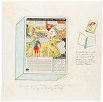 BUCK ROGERS CARTOONS CEREAL BOX BACK PROTOTYPE ORIGINAL ART. Comic Art