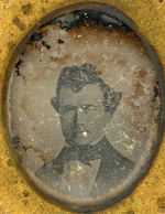 """FOR PRESIDENT GEN. FRANK PIERCE"" PREVIOUSLY UNKNOWN 1852 OVAL 2.5"" TALL WITH DAGUERREOTYPE PHOTO."