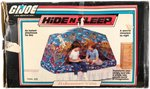 G.I. JOE VEHICLE PLAY TENT AND HIDE N SLEEP IN BOXES.