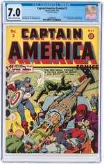 """CAPTAIN AMERICA COMICS"" #3 MAY 1941 CGC 7.0 FINE/VF."