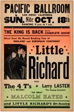 HISTORIC LITTLE RICHARD 1964 PACIFIC BALLROOM SAN DIEGO, CALIFORNIA CONCERT POSTER.