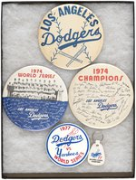 "DODGERS (3) 6"" BUTTONS W/TWO FROM MUCHINSKY BOOK PLUS TWO UNLISTED 1977 SERIES."
