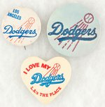 DODGERS FLYING BASEBALL LOGO THREE BUTTONS UNLISTED IN MUCHINSKY.