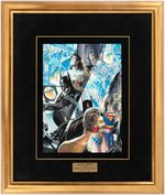 "ALEX ROSS ""JLA: LIBERTY AND JUSTICE"" COMIC BOOK PAGE ORIGINAL ART FRAMED DISPLAY."