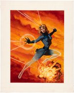 FANTASTIC FOUR - INVISIBLE WOMAN PAINTING ORIGINAL ART BY MARK ROMANOSKI.