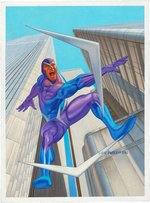 """SPIDER-MAN PREMIUM - BOOMERANG"" TRADING CARD ORIGINAL ART BY LOU HARRISON."