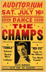 THE CHAMPS RARE 1961 CONCERT POSTER.