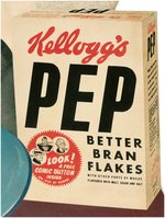 "KELLOGG'S ""PEP"" ADVERTISING STANDEE WITH ""PEP"" PINS GRAPHICS."