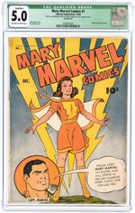 """MARY MARVEL COMICS"" #1 DECEMBER 1945 CGC 5.0 VG/FINE QUALIFIED."