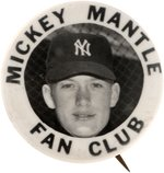 "1952 MICKEY MANTLE (HOF) ""FAN CLUB"" REAL PHOTO BUTTON."