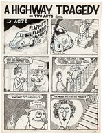 DRAG CARTOONS #46 A HIGHWAY TRAGEDY COMIC STORY ORIGINAL ART BY GILBERT SHELTON.