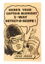 "CAPTAIN MIDNIGHT ""DETECT-O-SCOPE"" PREMIUM WITH INSTRUCTIONS AND MAILER."