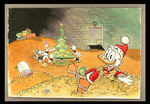 CHRISTMAS IN UNCLE SCROOGE'S MONEY BIN PEN AND INK WATERCOLOR PAINTING BY  PATRICK BLOCK