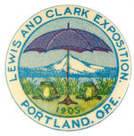 """LEWIS AND CLARK EXPOSITION 1905"" BIZARRE DESIGN BUTTON."