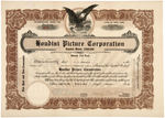 "HARRY HOUDINI SIGNED ""HOUDINI PICTURE CORPORATION"" STOCK CERTIFICATE."
