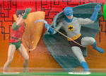 "RARE ""OFFICIAL BATMAN AND ROBIN - JUSTICE LEAGUE OF AMERICA"" FIGURE SET BY IDEAL ON CARD."