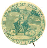 McKINLEY & HOBART PEDDLING TWO-MAN BICYCLE ON PATHWAY TO THE WHITE HOUSE CARTOON JUGATE.