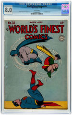 """WORLD'S FINEST COMICS #33"" MARCH-APRIL 1948 CGC 8.0 VF."