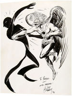 JOE KUBERT HAWKMAN PUNCHING SHADOW THIEF SPECIALTY ORIGINAL ART.