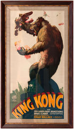 """KING KONG"" FRAMED REPRODUCTION THREE-SHEET MOVIE POSTER."
