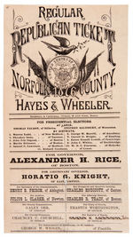 HAYES & WHEELER 1876 MASSACHUSETTS BALLOT.