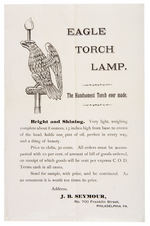 """EAGLE TORCH LAMP"" SALES FLIER AND 1876 CLIPPED ADVERTISEMENT."