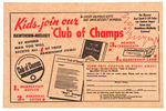 ADVERTISING PAPER FOR HAWTHORN-MELLODY 'CLUB OF CHAMPS' BEANIE.
