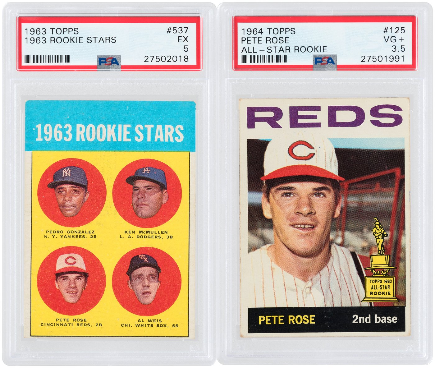 Hakes Pete Rose Topps Psa Graded Pair Wrookie Card