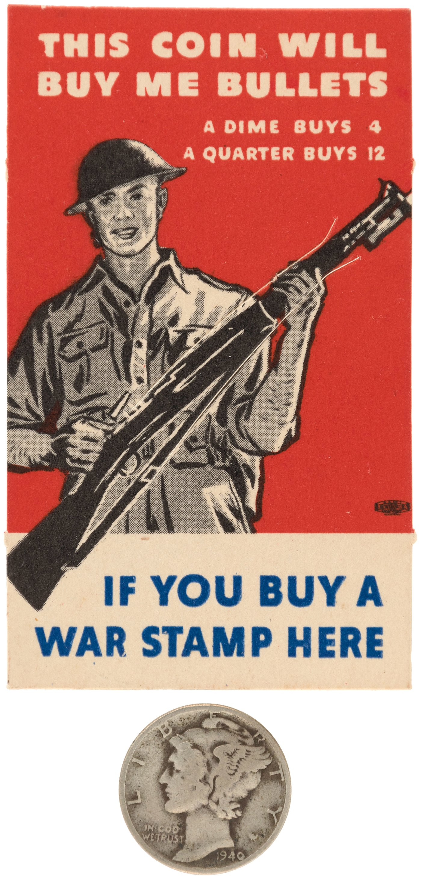 Hake's - WORLD WAR II - WAR BONDS BUY BULLETS VICTORY POSTER &