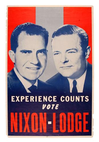 1960 NIXON /& LODGE EXPERIENCE COUNTS PAPER CAMPAIGN CAP