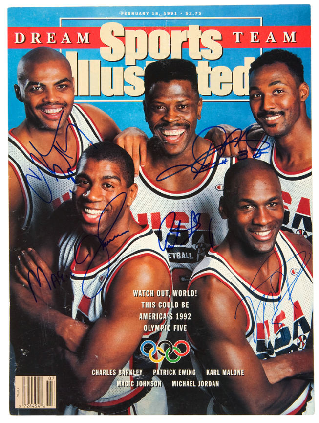 """Hake's - DREAM TEAM SIGNED """"SPORTS ILLUSTRATED"""" COVER."""