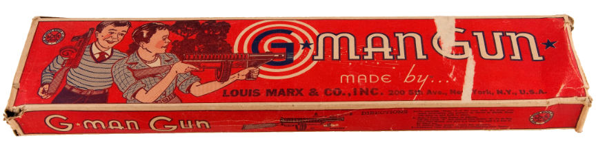 """Hake's - """"G MAN"""" MARX SPARKLING WIND-UP TOMMY GUN WITH BOX"""