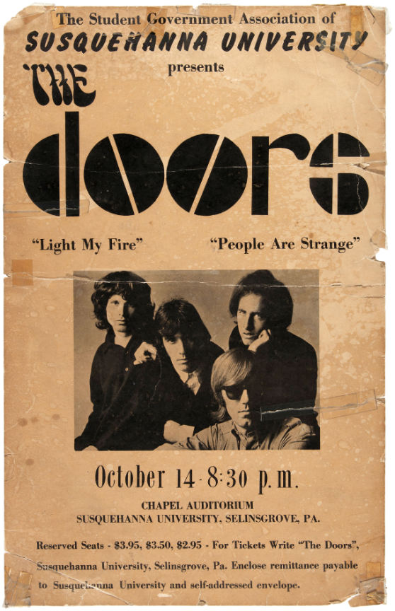 Hake\u0027s Americana \u0026 Collectibles & Hake\u0027s - THE DOORS RARE 1967 SUSQUEHANNA UNIVERSITY CONCERT POSTER.