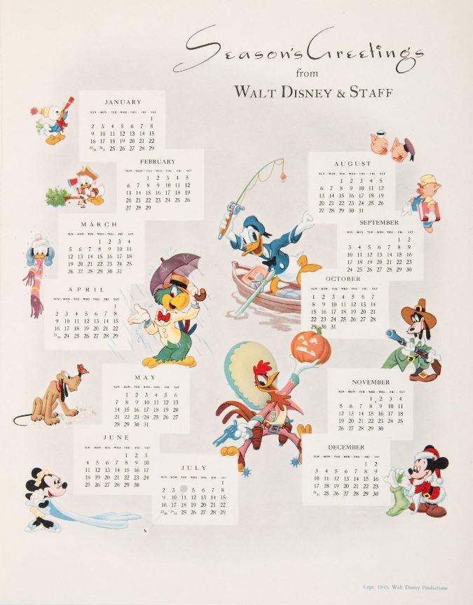 Hake\'s - WALT DISNEY STUDIO CHRISTMAS CARDS FOR 1943-1946.