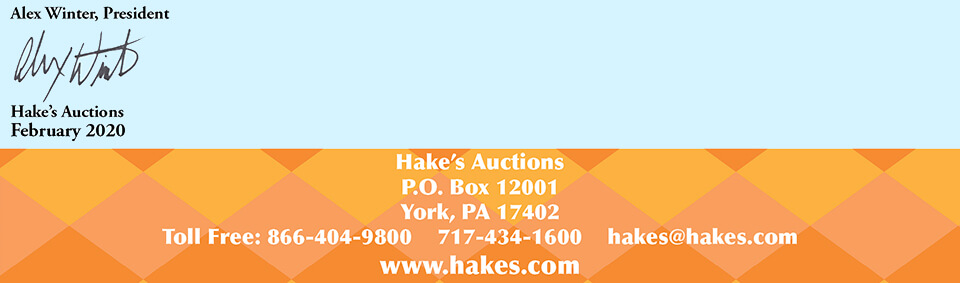 Hake's Letter Info Banner and Signature
